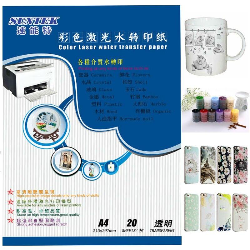 Transparente Impresora Láser Papel Calcomanía de Agua X 1 A4