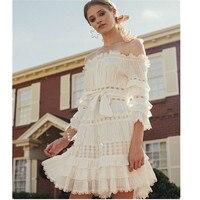 Haute Couture Sexy Boho Mini Dress Slash Neck Lotus Sleeves Shift Hollow Out Lace Dress Holiday Dress White Vestidos