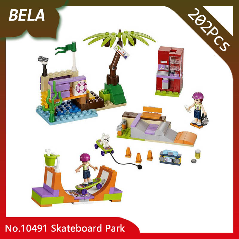Bela 10491 202pcs Friends Series The Skateboard Park Model Building Blocks Set Bricks Kids Favourite Toys Gifts Compatible 41099
