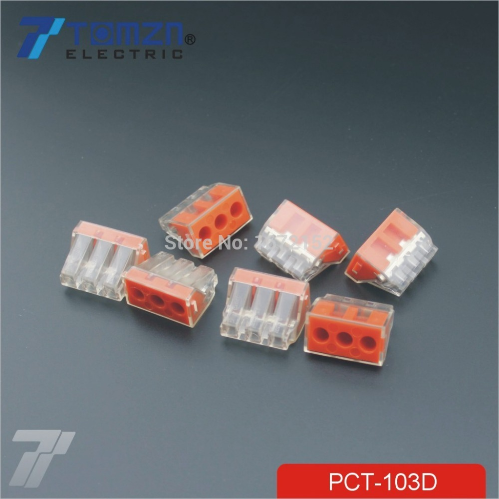 100pcs PCT 103D Push wire wiring connector For Junction box 3 pin ...