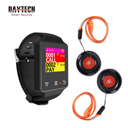 DAYTECH Wireless Caregiver Pager Coaster Chargeable Watch Receiver Waterproof 433MHZ Call Button Home Care Alert Calling System