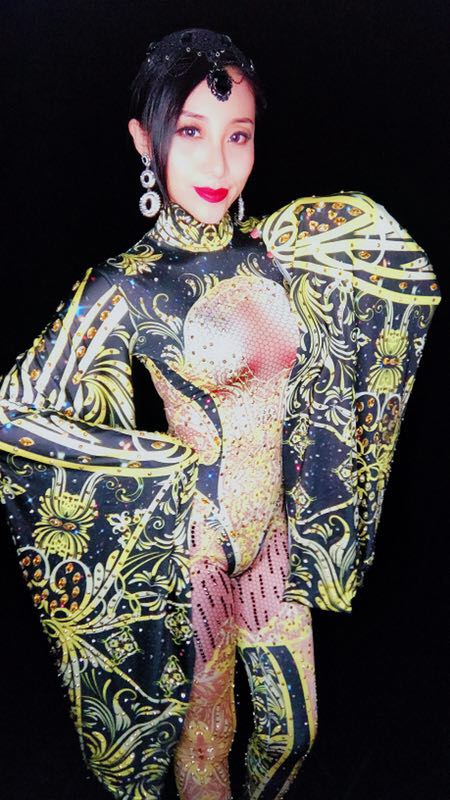 Reine De Strass Costume Manches Mode Performance La Chanteuse Golden Outfit Or Body Célébrer Grand Salopette rrnqwdBxC