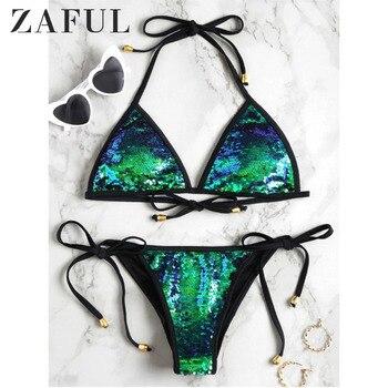 ZAFUL Hot Sell Bikini Set Women Sexy Low Waist Bathing Suit Simple Sequins Beach Brazilian Swimsuit Halter Bandage Swimwear