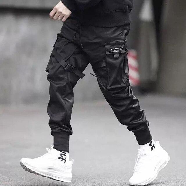 Abril MOMO 2019 hombres Multi-Bolsillo Harem Hip Pop Pantalones Streetwear Sweatpants Hombre Casual moda Cargo Pantalones los hombres