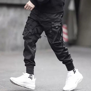 Image 1 - April MOMO 2020  Men Multi pocket Harem Hip Pop Pants Trousers Streetwear Sweatpants Hombre Male Casual Fashion Cargo Pants Men