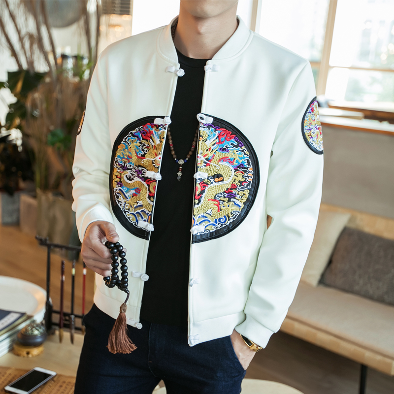 Men Coats Chinese Style Dragon Embroidery Slim Fit Bomber Jacket Classic Retro Pan Kou Long Sleeve Robe embroidered jacket