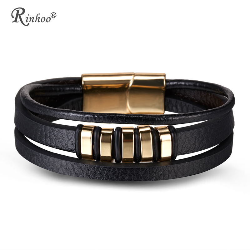 RINHOO Genuine Leather Stainless Steel Bracelet Charms Punk Jewelry Bracelet For Men Holiday Father Valentine's Day Gift