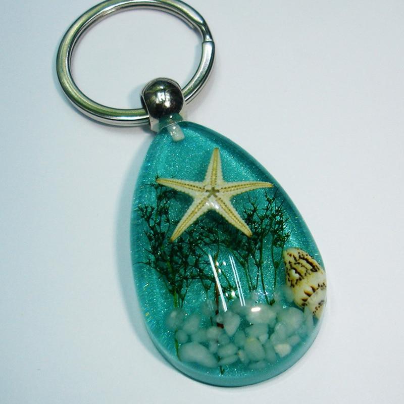 JWEIJIAO 10 Colors Starfish Clear Crystal Pendant Car Key Buckle Novel Originality Sea World Keychains N0012