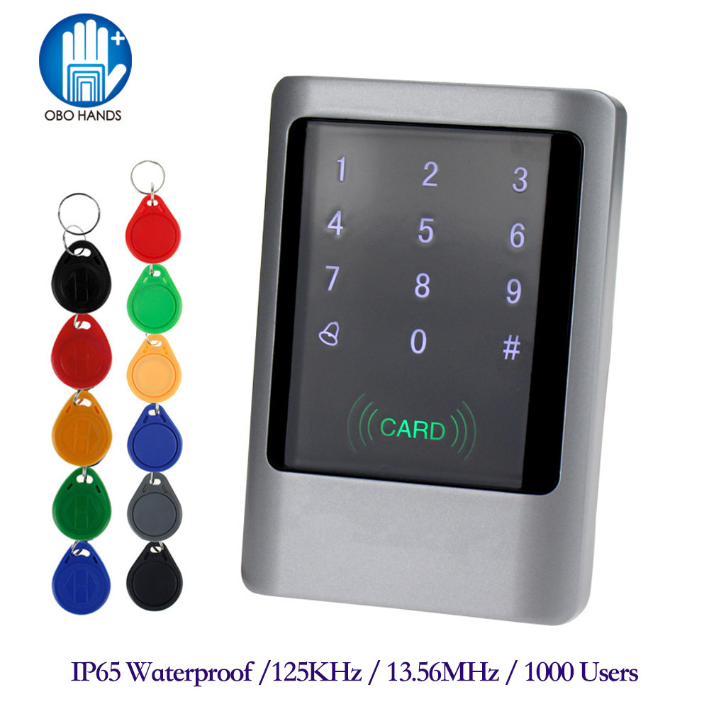 IP65 Waterproof Access Control Touch Metal Smart Keyless Lock 125KHz/13.56MHz Card Reader  With 10 Key Cards Weatherproof