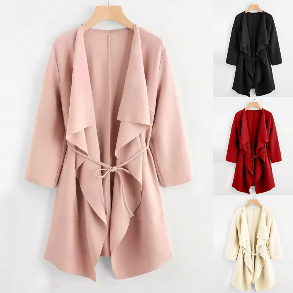 Gofuly 2020 Spring Autumn Winter Poclet Coat For Women Casual Waterfall Collar Elegant Pocket Ront Wrap Coat Jacket Outwear