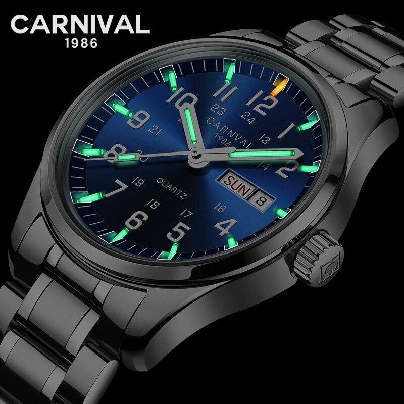 Carnaval sport T25 tritium lumineux hommes montre quartz de luxe marque en acier montres hommes horloge saat reloj hombre mode montre