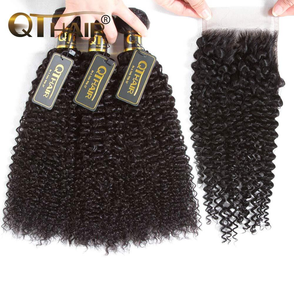 QT Hair Kinky Curly Bundles With Closure Malaysian Human Hair Bundles With Closure Remy 34 Bundles With Closure Human Hair