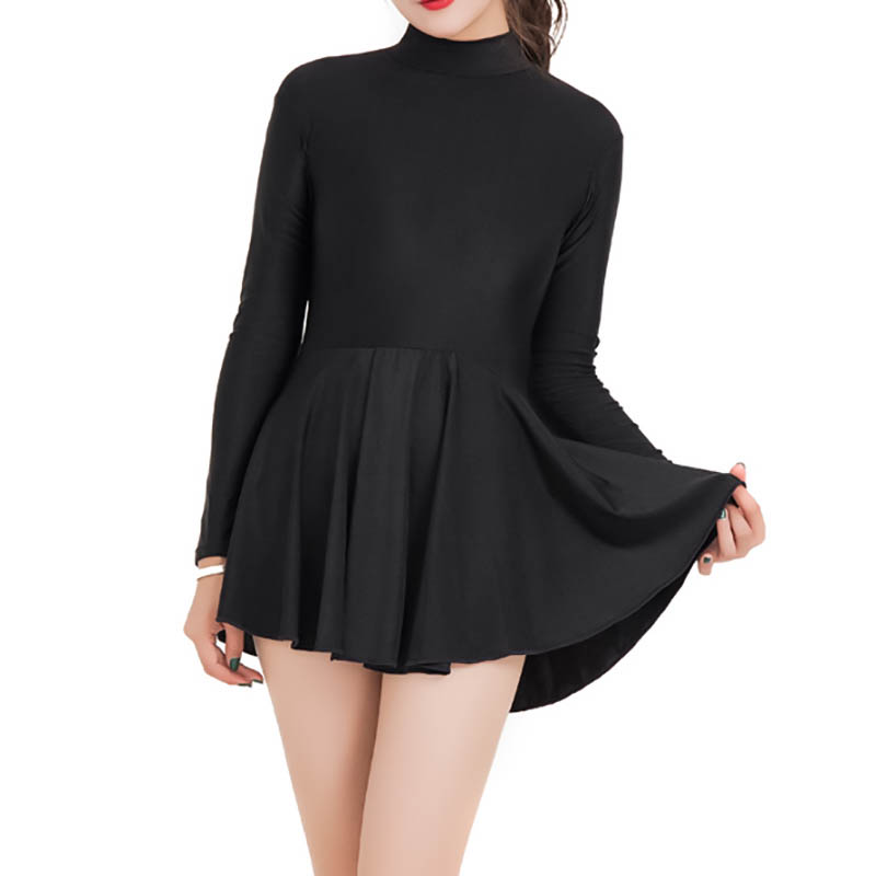 New!Adult One-piece Ballet Dress For Women Spandex Leotards Long Sleeve Ballerinas Dancing Bodysuit With Skirt Costumes Female