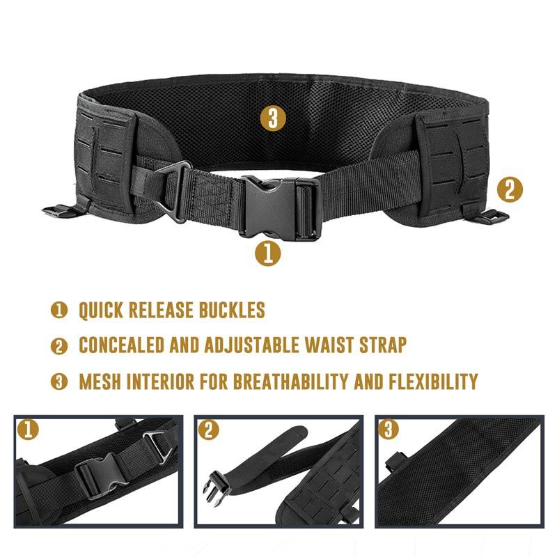 Laser-cut MOLLE Patrol Belt Tactical Hunting Battle Belt Military Combat Padded Patrol Belt for Men Waist Support