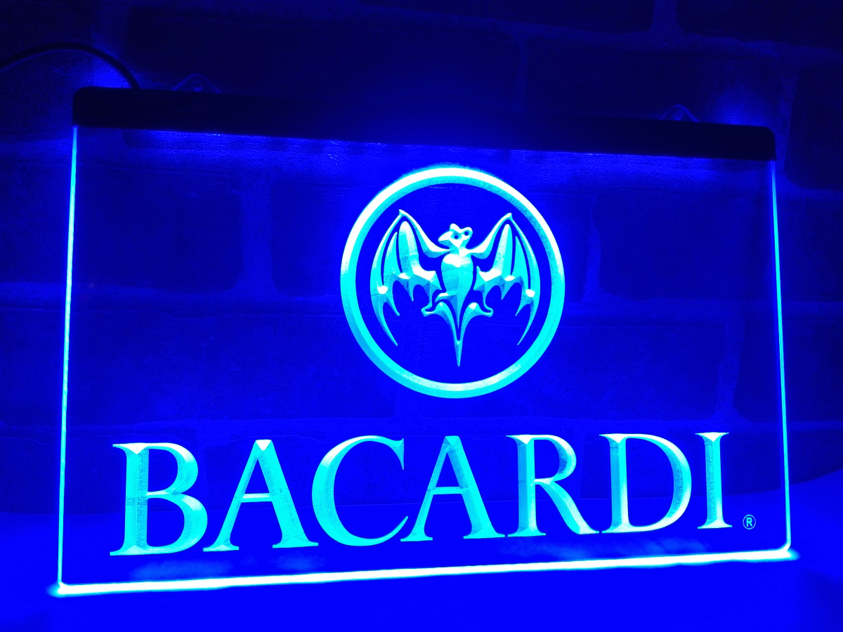 LA023 Bacardi Banner Flag LED Neon Light Sign home decor