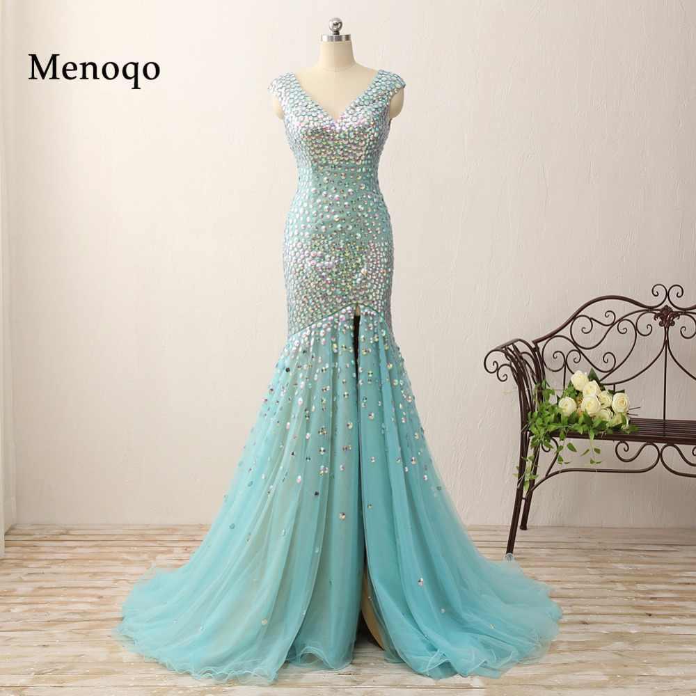 2018 Real Photos Mermaid Crystal Prom Dresses Floor Length Evening Gowns  Glittering High Split v neck d7fb3e1632a4
