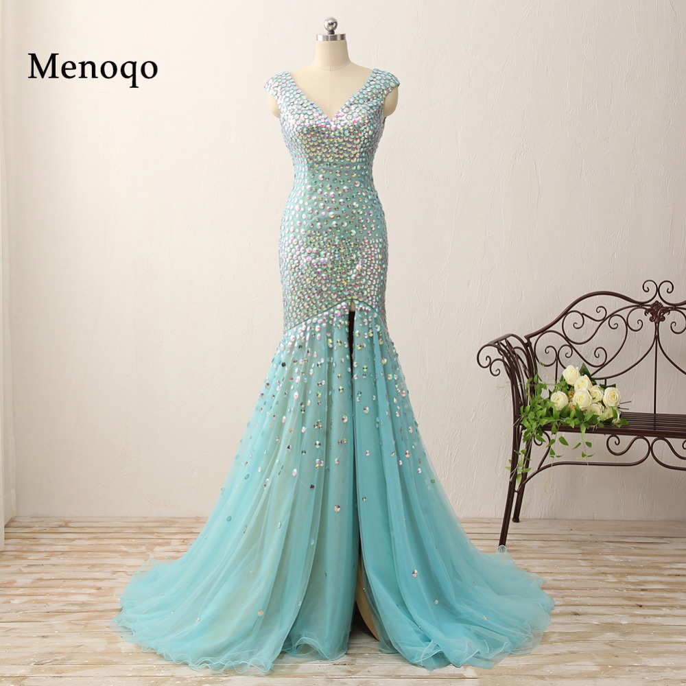 2018 Real Photos Mermaid Crystal   Prom     Dresses   Floor Length Evening Gowns Glittering High Split v neck Cap sleeve