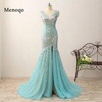 2018 Real Photos Mermaid Crystal Prom Dresses Floor Length Evening Gowns Glittering High Split v neck Cap sleeve