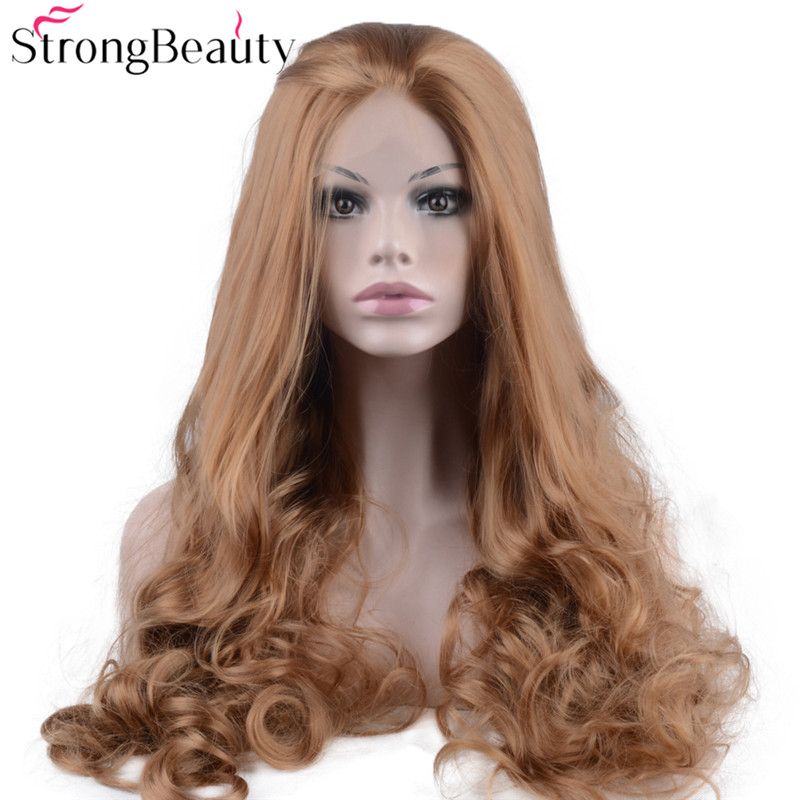 Strongbeauty Long Curly Strawberry Blonde Wig Synthetic Heat Resistant Lace Front Wig