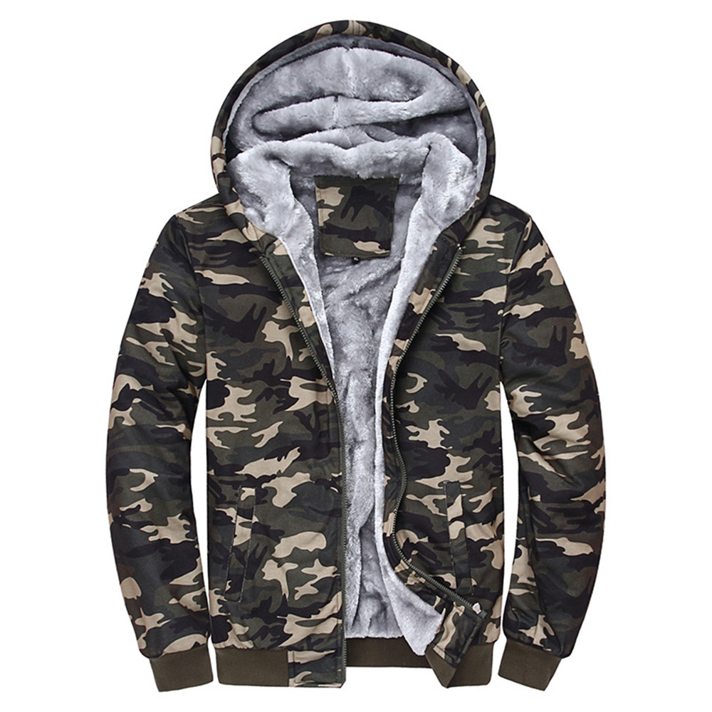 Dreamskull Men s Coat Cotton Casual Hooded Hoodies Fleece Cashmere Winter Camouflage Jacket