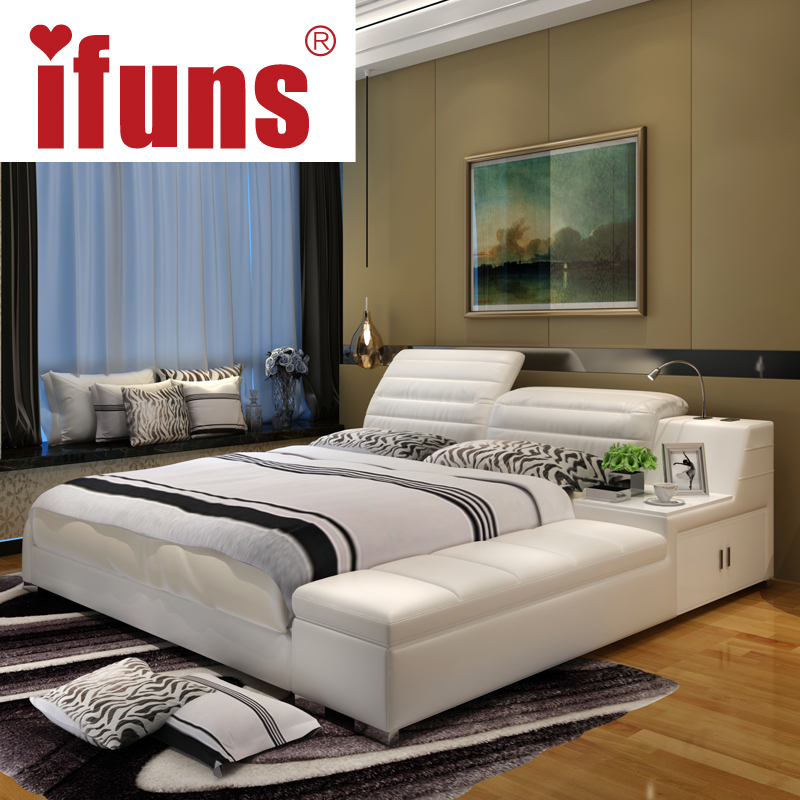 aliexpresscom buy ifuns luxury bedroom furniture home soft king double size bed frame genuine leather storage chaise tatami led night usbcharge from - Double Size Bed Frame