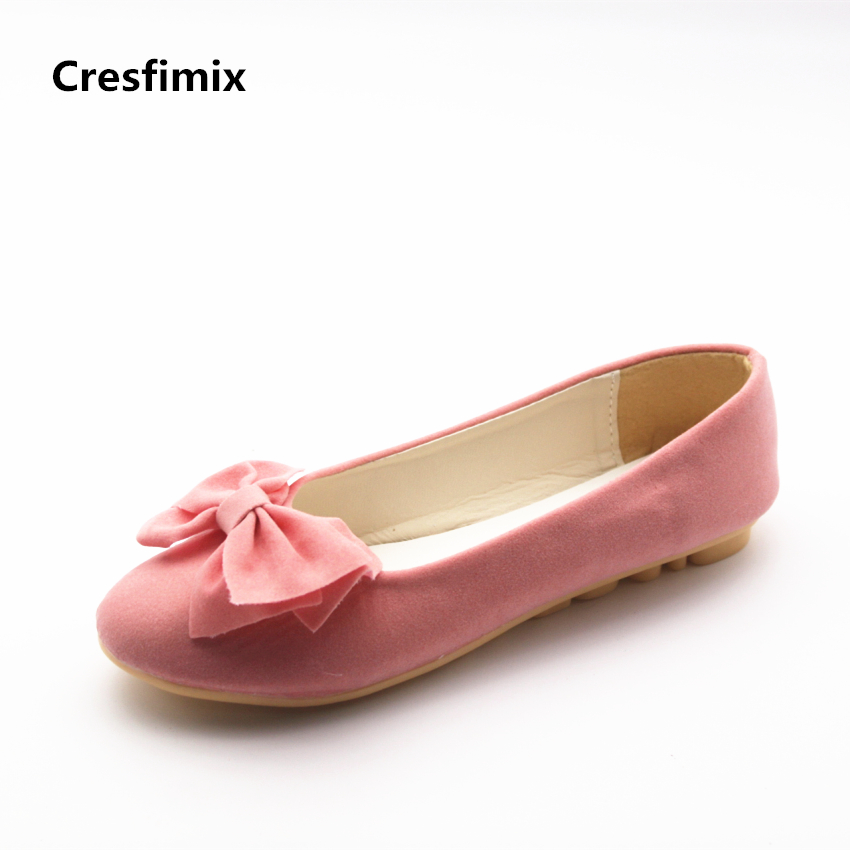 Cresfimix women cute spring & summer slip on flat shoes with bow tie lady casual pink street stylish shoes zaptos de mujer cresfimix women cute spring