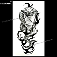 SHNAPIGN Cobra Snake King Temporary Tattoo Body Art Arm Flash Tattoo Stickers 17x10cm Waterproof Fake Henna Painless Sticker