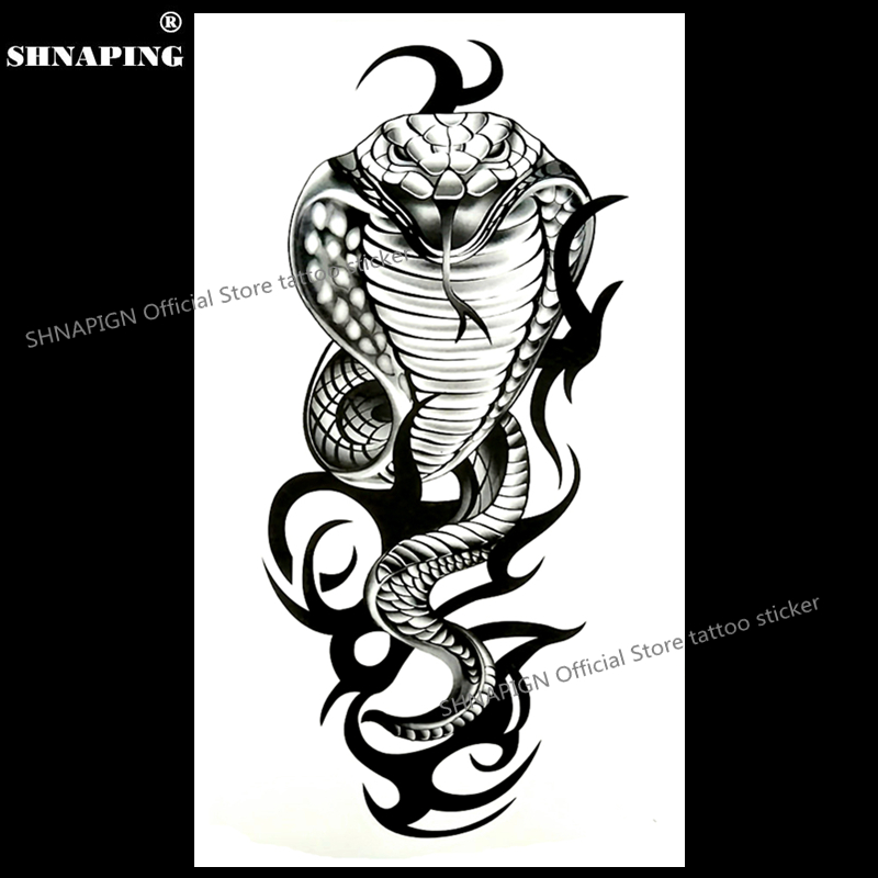 SHNAPIGN Cobra Snake King Temporary Tattoo Body Art Arm Flash Tattoo Stickers 17*10cm Waterproof Fake Henna Painless  Sticker