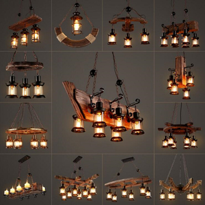 Image 2 - Massief Houten lustre Vintage Kroonluchter Verlichting lustre suspension Koffie Slaapkamer Verlichting Ijzer + Houten Lamp voor loft decor