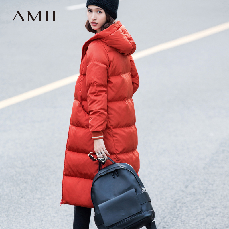 Amii Casual Thick 90% White Down Coat Winter Women 2018 Warm Solid Patchwork Hooded Plus Size Long Jackets Coats Zipper Parkas