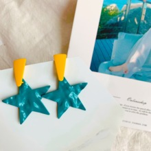 Neatear Fashion 2019 color matching star pattern featuring ladies party earrings Instagram Internet celebrity