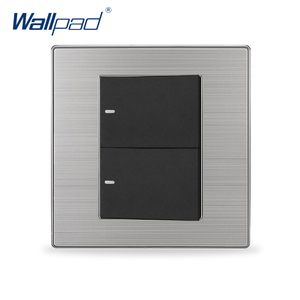 Gran oferta 2019, interruptor de obturador de cortina eléctrico de lujo Wallpad de reinicio de 2 bandas, interruptores de pared de contacto momentáneos
