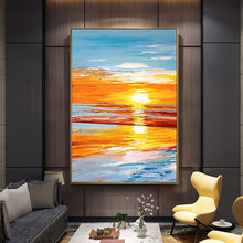 100% Hand Painted Sunset Scenery Abstract Art Oil Painting On Canvas Wall Art Wall Adornment pictures For Living Room Home Decor цена в Москве и Питере
