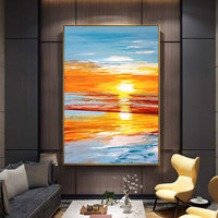100% Hand Painted Sunset Scenery Abstract Art Oil Painting On Canvas Wall Art Wall Adornment pictures For Living Room Home Decor