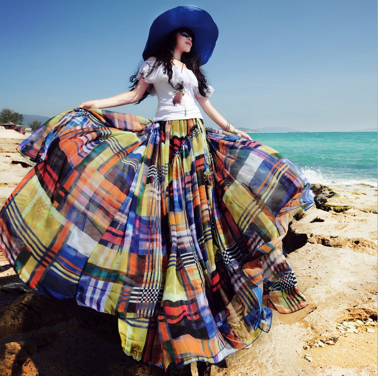 La Longitud Irregular 2017 Verano Mujeres Multiple Impresión Bohemia Colmena Gasa Nuevo Piso Playa De Falda SqI17vnBqw