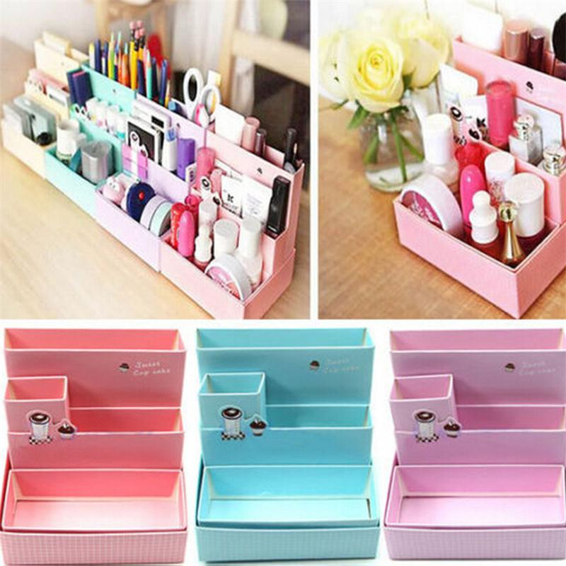 DIY Paper Board Storage Box Desk Decor Stationery Makeup Cosmetic Organizer Pen Holders School Office Supplies