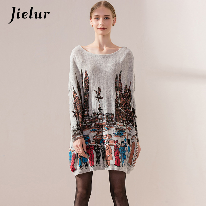 New Loose Casual Style Plus Size Sweater for Women Long Sleeve Batwing Sleeve Pullover Slash Neck Cartoon Print Women's Sweaters
