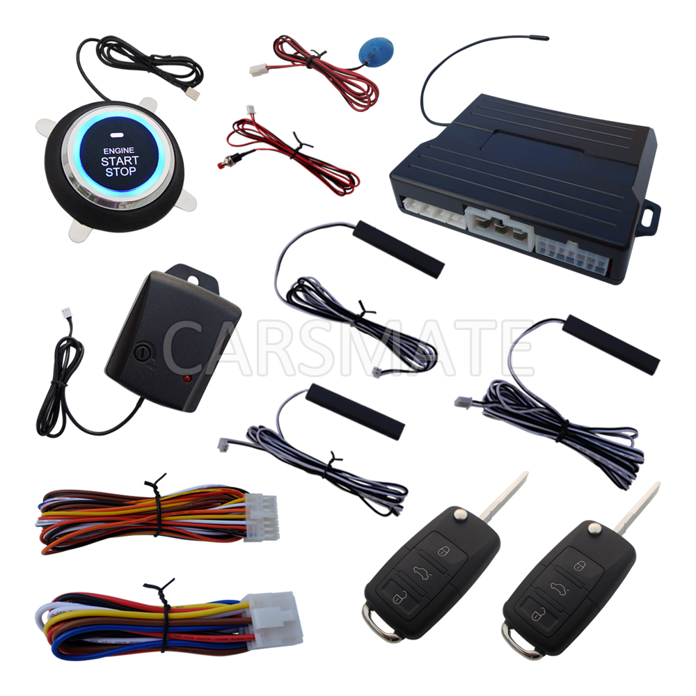 Smart HAA Flip Key PKE Car Alarm System Push Start Remote Start Stop Engine Auto Central Door Lock With Shock Sensor & LED Alarm цена и фото