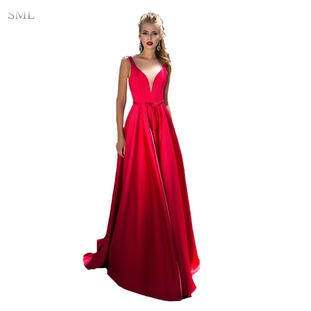 SML Sexy V Neck Long Satin Red Prom Dresses With Pocket 2017 Burgundy A-Line  Evening Party Gown with Sweep Train Spaghetti Strap 2b8080007