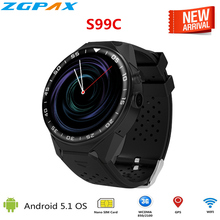S99C Android 5.1 OS Smart Watch 1.3 inch Heart Rate Camera Video Health Monitoring SmartWatch phone support 3G WIFI SIM WCDMA