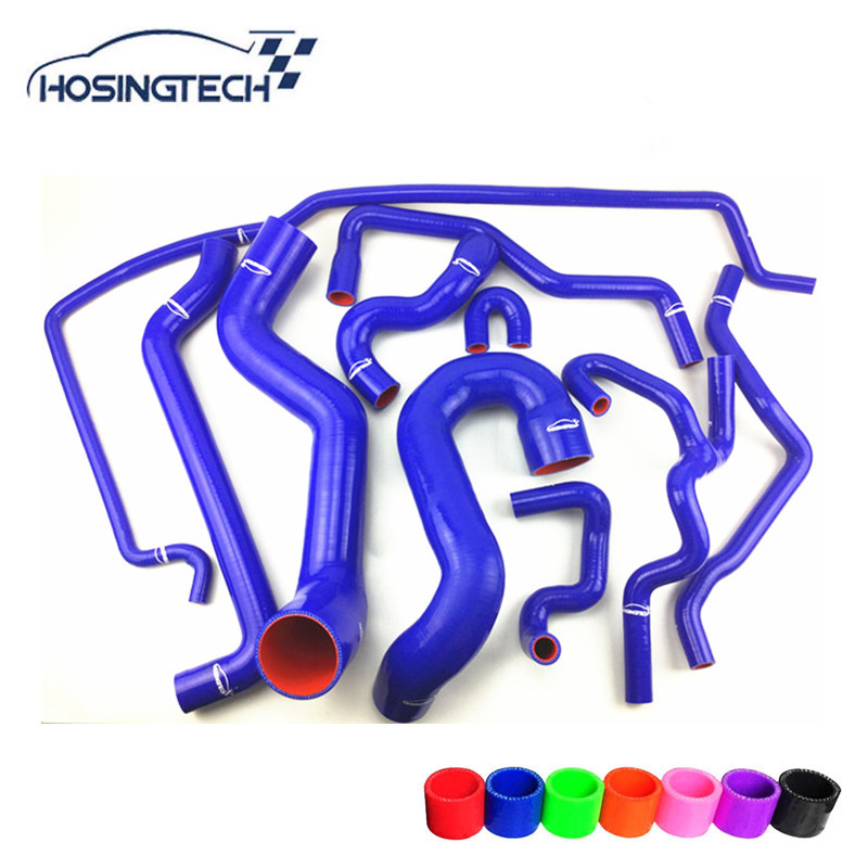 HOSINGTECH-blue 10pcs silicone coolant hose kits suitable for SAAB 9-5 2.0T 2003+ f7dz10884aa f8cz12a648b fit for ford thermostat housing water outlet coolant hose