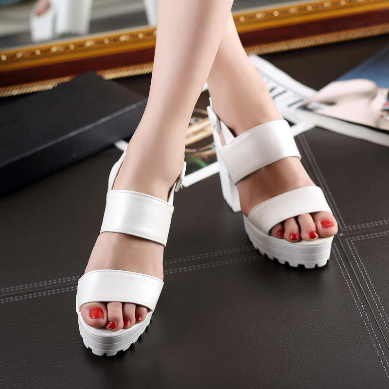 ФОТО Elegant Women Sandals Popular Platform Strange Style Heels Sandals Soft Leather Blue White Pink Shoes Size Woman 4-8.5 .