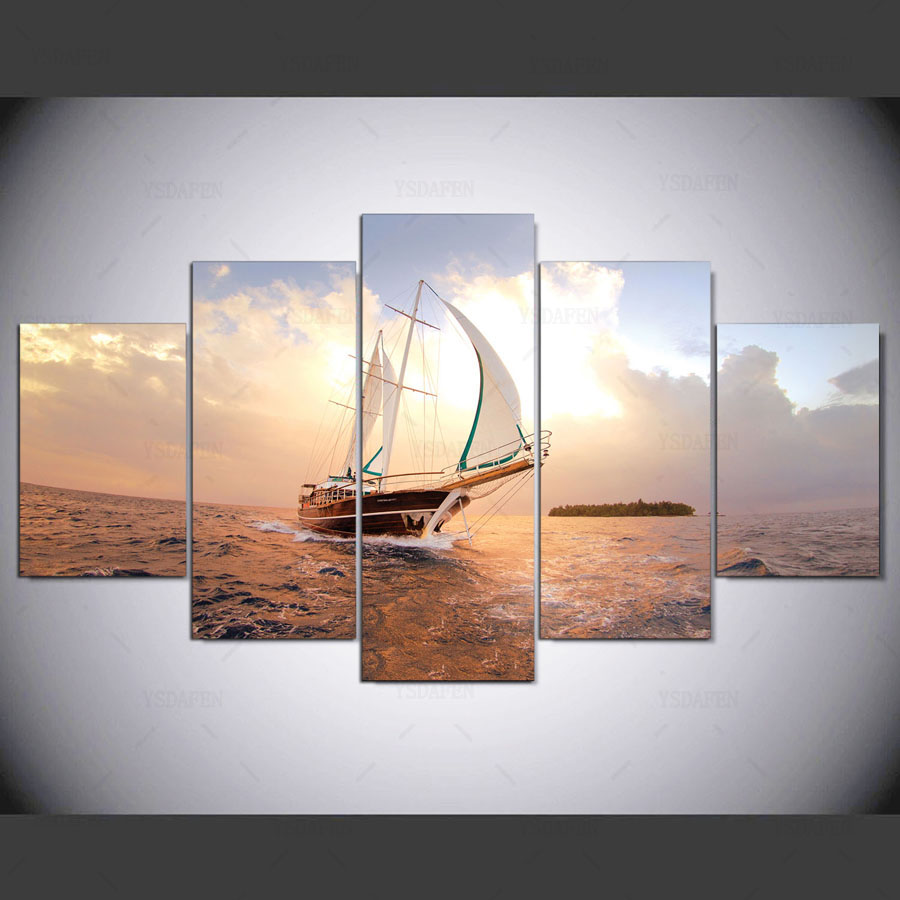 5 panel hd moderne Boot ozean kunstdruck leinwand kunst wand ...