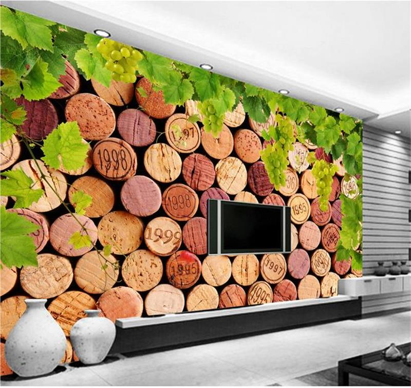 3d wallpaper custom mural living room wallpaper HD wine bottle cork vines 3d painting sofa TV background bar non-woven wallpaper 3d photo wallpaper custom room mural non woven sticker retro style bookcase bookshelf painting sofa tv background wall wallpaper