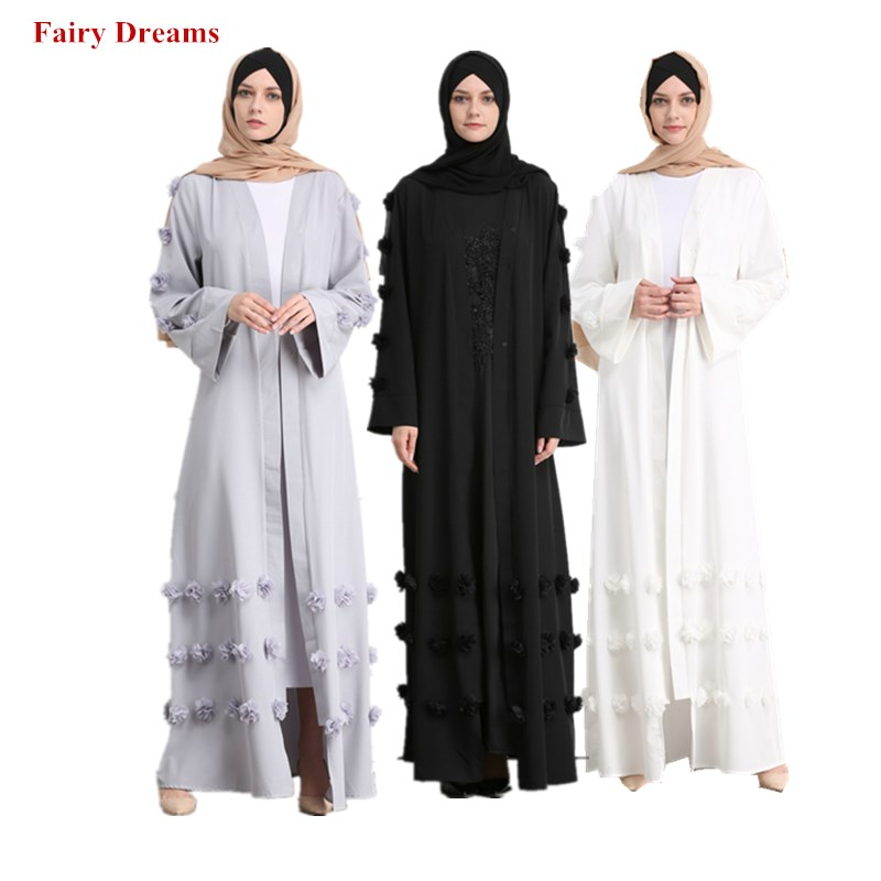 Women Abaya Dubai Grey White Black Coat Appliques Muslim Caftan Long Cardigan Bolero Hijab Turkish Islamic Clothing Headscarf formal wear