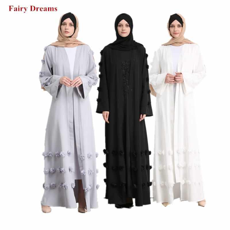 f882ef661fc6 Women Abaya Dubai Grey White Black Coat Appliques Muslim Caftan Long  Cardigan Bolero Hijab Turkish Islamic