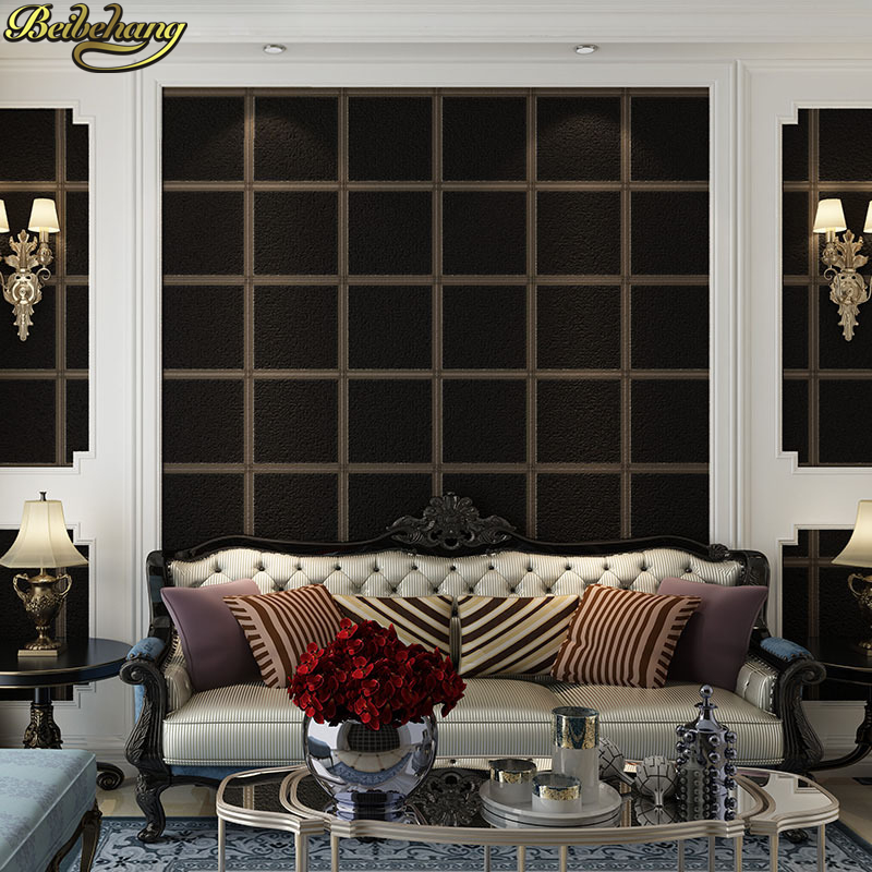 Luxury European Ceiling For Modern Home: Beibehang European Luxury Striped TV Background Wall
