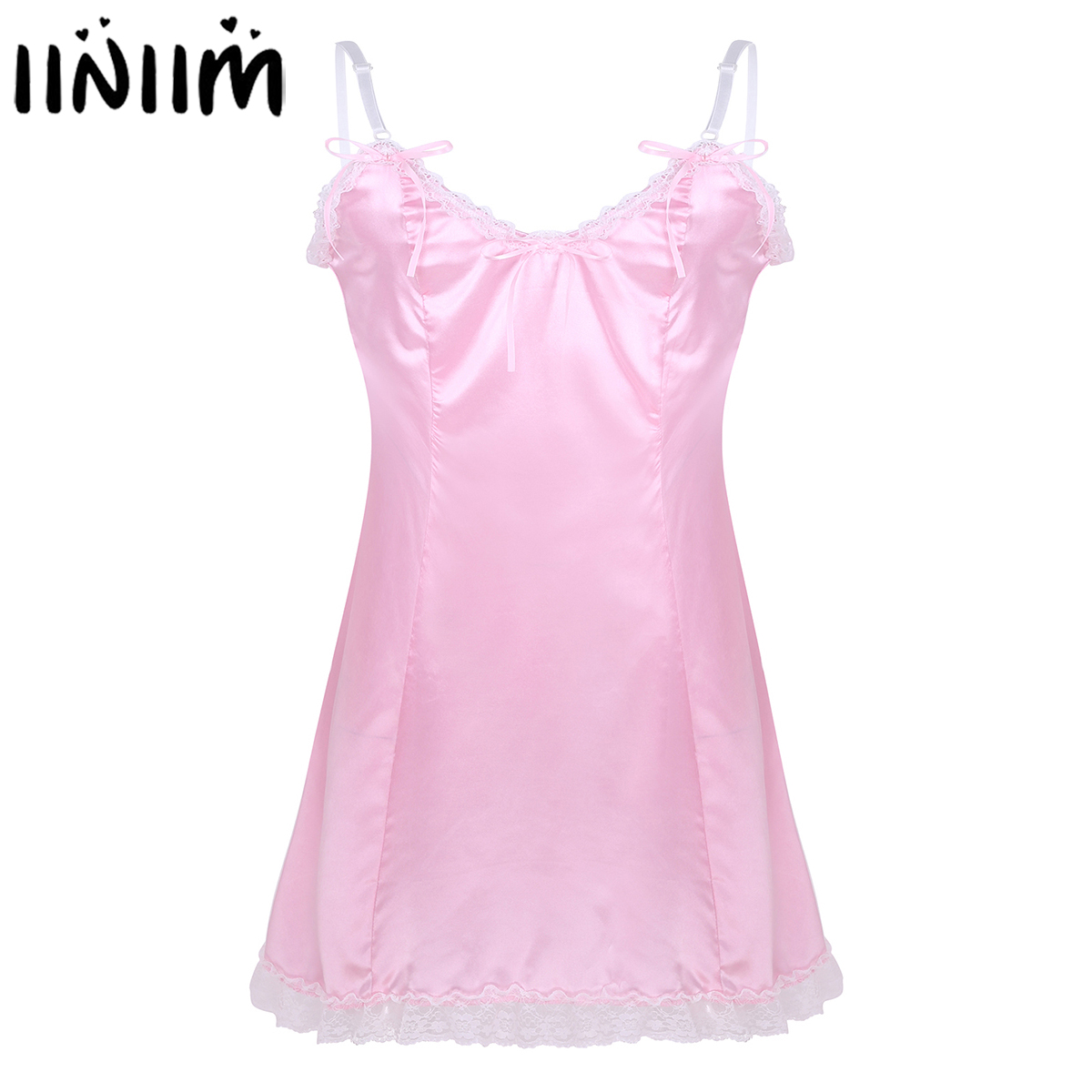 Men <font><b>Adults</b></font> Novelty Exotic <font><b>Dresses</b></font> <font><b>Sexy</b></font> Male Nightwear Satin Straps Low Back Sissy Baby Fancy Costume Clubwear Vintage Slip <font><b>Dress</b></font> image