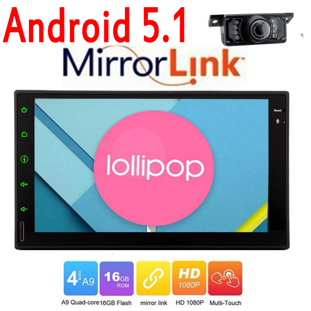 7018B Android 5.1 in dash Double 2 din Car autoradio gps navigator Player audio HD touch Screen WiFi GPS navigation 2 din camera