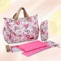 ¡ NUEVO!!! estampado de flores elegante de maternidad mamá bolsa de nylon impermeable de gran capacidad de pañales cuidado del bebé bolsa de pañales de la momia bolsa de mensajero